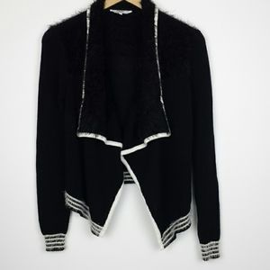 Candie's Open Front Black Fuzzy Cardigan Size S